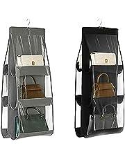 LXTaoler Hanging Handbag Purse Organizer, 2 Pcs 6 Pockets Dust Proof Storage Holder Bag Wardrobe Closet Space Saving Organizers System,Washable (Black+Grey)