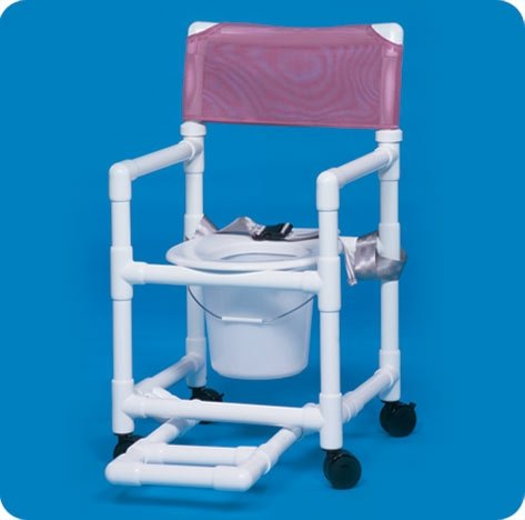 Seat White Pvc (Ipu 12973300 Shower Chair / Commode With Footrest, Seatbelt And Pail Standard Line Fixed Arms Pvc Mesh Backrest 17 Inch Vl Sc17 P Frsb White Box Of 1)