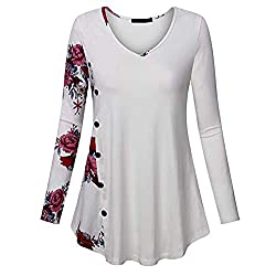Blouses For Womens Foruu Christmas Thanksgiving Friday Monday Under 10 Women Print Patchwork V Neck Button Down Pullover Tops Tunic Shirt