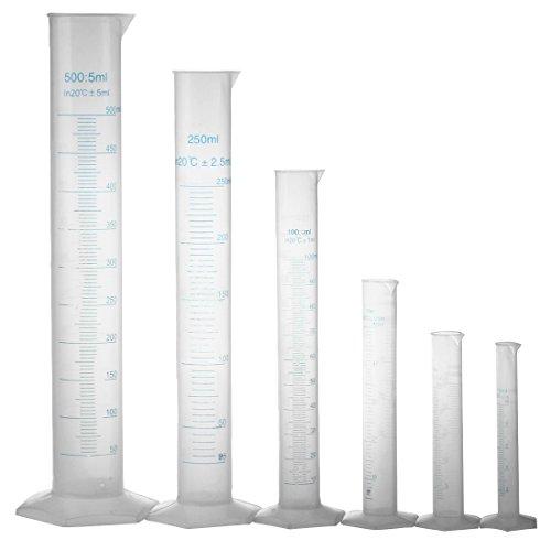 Cylinder - TOOGOO(R)10 25 50 100 250 500ml graduated cylinder to measure students Laboratory DIY 6 pcs