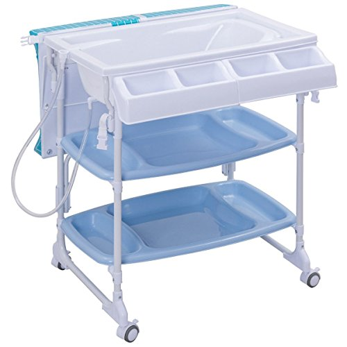Costzon Baby Bath and Changing Center, Infant Changing Table, Diaper Organizer with Tube & Cushion (Blue) (Bath Baby Stand)