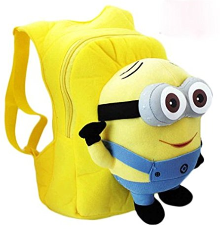 Toy24h Despicable Me 3d Eyes Minion Soft Plush Doll School Backpack Bag (Blue - Two Eys -