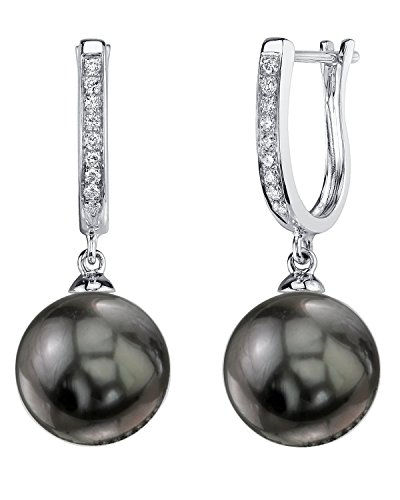 THE PEARL SOURCE 14K Gold 11-12mm Round Black Tahitian South Sea Cultured Pearl & Diamond Kim Earrings for Women