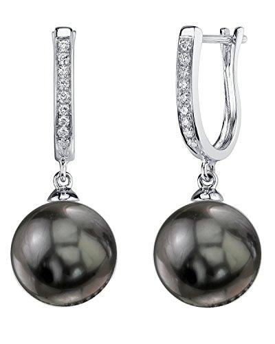 THE PEARL SOURCE 14K Gold 11-12mm Round Black Tahitian South Sea Cultured Pearl & Diamond Kim Earrings for Women Diamonds 12mm South Sea Pearl