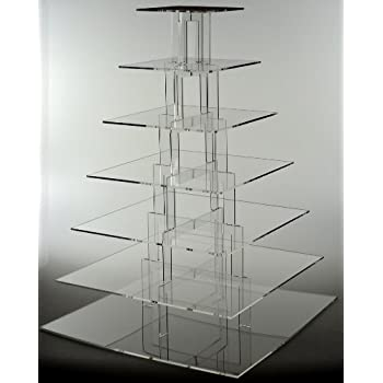 Amazon Com Tier Square Acrylic Cupcake Stand Tower Wedding