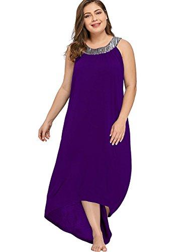 Merrya Womens Plus Size Halter Sequin Tunic Summer Hi Lo Maxi Dress