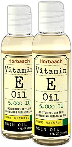 Horbaach 100% Pure Vitamin E Oil 5000 IU 8 oz – Moisturizes Skin, Hair, and Face | Vegetarian, Non-GMO, Gluten Free