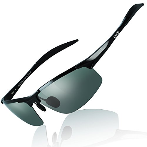 DUCO Mens Sports Polarized Sunglasses UV Protection Sunglasses for Men 8177s(Black Frame Green ()