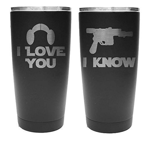 Star Wars Inspired - I Love You I Know - Set of 2 Stainless Steel Tumblers with Clear Lid - Choice of 12-20 - 30 oz Tumblers, Colors, Names, Date, Spill Proof Slide Lid & Your Text - Engraved Gift by aGoGo Creative
