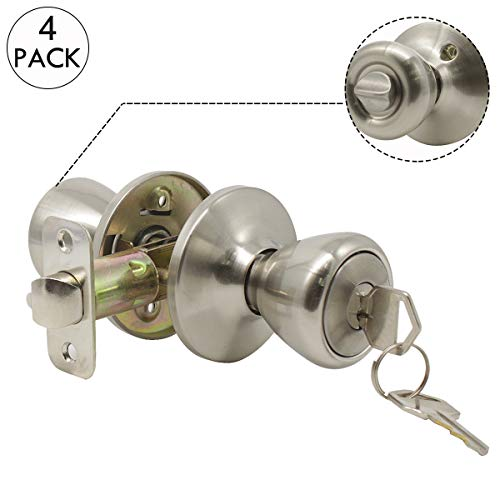 Entry Door Lockset Tulip Style Entrance Knob in Satin Nickel,Keyed Alike, 4 Pack