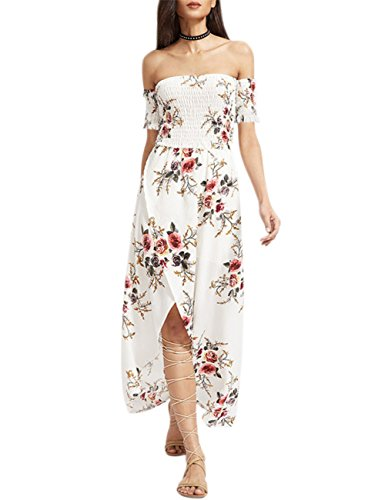 Leadingstar Womens Summer Floral Strapless Off Shoulder Beach Slit Casual Sexy Dresses White ()