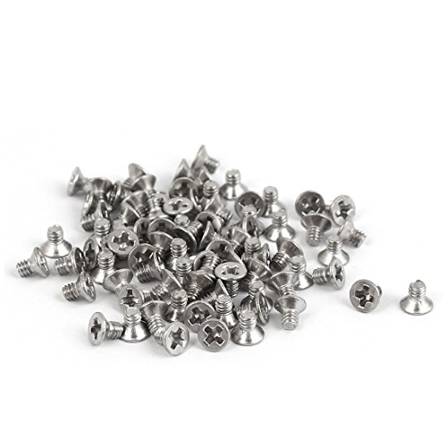 - Uxcell a16051600ux0412 M2x3mm 316 Stainless Steel Flat Head Phillips Machine Screws Silver Tone (Pack of 80)