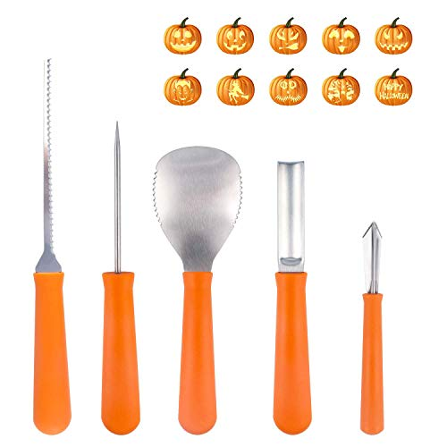 Halloween Pumpkin Carving Kit(5 Pack),Jewshion Premium Stainless Steel