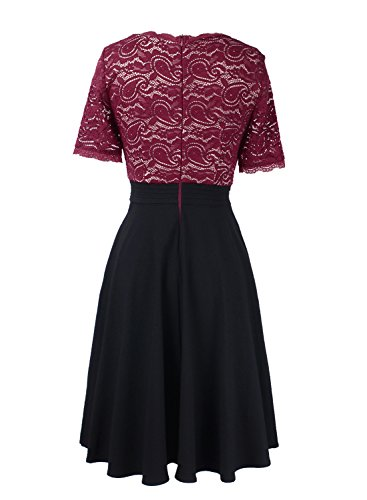 Patchwork Pocket and Lace Dark Party Neck Black Cocktail V Floral Dress VFSHOW Line Women Red A wYOq1X