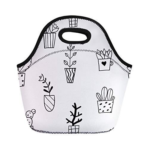 (Semtomn Neoprene Lunch Tote Bag Flower Pots Sketch Doodle Plants Botany Black and White Reusable Cooler Bags Insulated Thermal Picnic Handbag for Travel,School,Outdoors,Work)