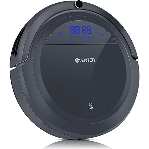 Eventer Robot Vacuum Cleaner Auto Adjust Suction and Cleaning Mode with Powerful Suction and Large Dust Box, Anti Pet Fur Allergens from Hard Floor and Carpet-Gray