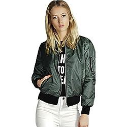 Wensltd Women Bomber Jacket Flight Jacket Motorcycle Soft Zipper Short Coat Jacket L Green