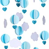Cieovo Pastel Cloud Hot Air Balloon Garland Up Up and Away Photo Prop Perfect for Themed Birthdays, Baby Showers, Weddings Decor 110 Inch/2.8M Each, Pack of 2, Each String 36 Pieces of Paper (Blue)