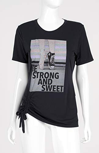 T-Shirt Skin Fit Sapatilha, Alto Giro, Feminino, Preto, P