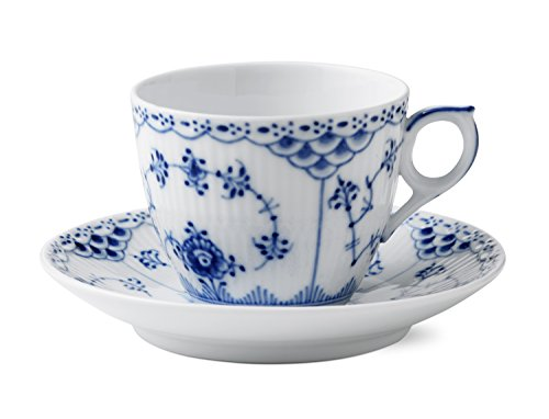 Blue Fluted Half Lace 5.75 oz. Cup and Saucer