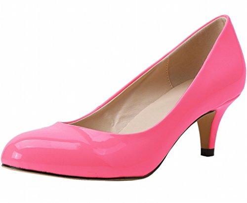Women's Pointed Closed Toe Slip On Kitten Mid Heel Dress Pumps rose patent pu 0NjQo