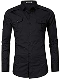 Men's Casual Slim Fit Long Sleeve Button Up Cargo Work Shirt Dress Shirt