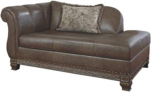 Signature Design by Ashley – Malacara Faux Leather Left Arm Facing Corner Chaise, Brown