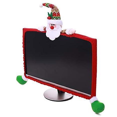 LOHOME Christmas Computer Monitor Cover 3D Cartoon Computer Case 19-27inch Non-Woven Screen Border Protector Christmas Decoration (Snowman)