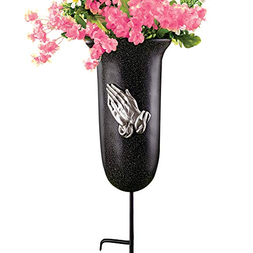 - Collections Etc Outdoor Memorial Flower Vase with Stake, Black