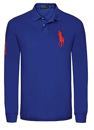 3fc10aa32a36d4 Ralph Lauren – Polo Big Pony ra7913811 Königsblau Orange Langarm Gr. M, Blau