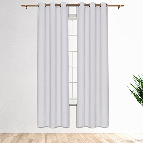 Cheap SmilingHome Blackout Curtain/Drape with Solid Thermal Insulated Grommet-42×95 Inch(Set of Two Panels,White)