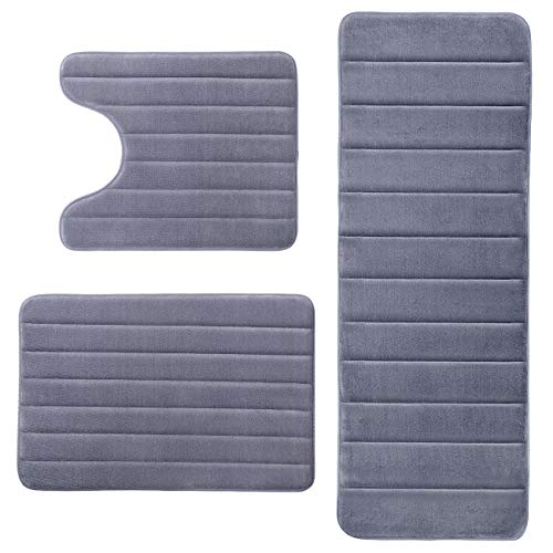 - KMAT Bathroom Rugs Bath Mats for Bathroom Luxury Soft Anti-Slip Memory Foam 3-Piece Mat Set(U-Shaped 20
