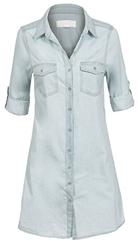 Womens Casual Button Sleeve Cotton