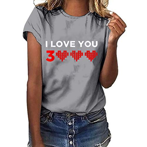 Dressin Casual Women's Loose T-Shirts Short-Sleeve Letter Print Heart Print T-Shirt Casual O-Neck Blous Tees Top Gray