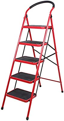 ZM-Step stool Escalera Interior Plegable De 4/5 Pasos Escalera Plegable Engrosamiento Pedal Ancho Cubierta De Esponja Reposabrazos Almacenamiento Conveniente para El AlmacéN Familiar: Amazon.es: Hogar