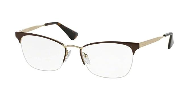 5c607461a5c Amazon.com  Prada CINEMA  PR65QV Eyeglass Frames DHO1O1-53 - Brown ...