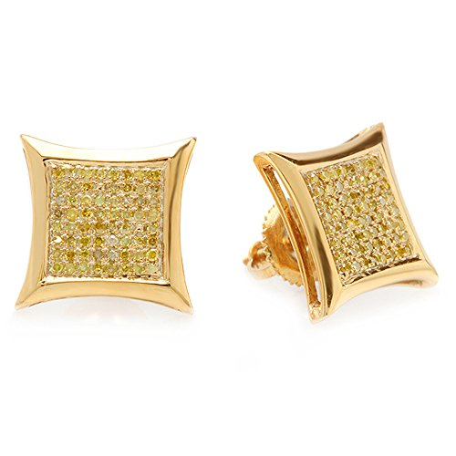 0.33 Carat (ctw) 18k Yellow Gold Plated Sterling Silver Yellow Round Diamond Micro Pave Setting Kite Shape Stud Earrings 1/3 CT