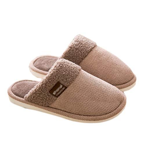 Pantoffeln AMINSHAP Männer Baumwolle Hausschuhe Hause Indoor Slip Schwerboden Bodenbelag Paar Warme Plüsch Hausschuhe (Farbe : Brown, größe : 39-40EU) Brown