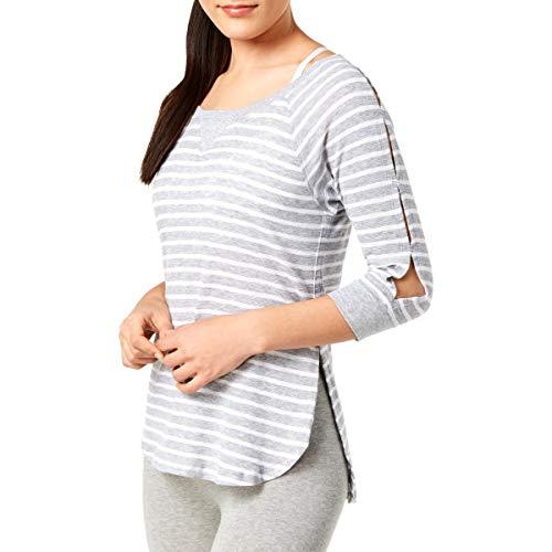 Calvin Klein Performance Womens Highlight Striped Henley Top Gray L