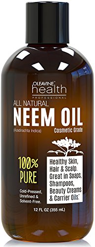 Neem-Oil-Organic-Wild-Crafted-Pure-Cold-Pressed-Unrefined-Cosmetic-Grade-12-oz-for-Skincare-Hair-Care-and-Natural-Bug-Repellent-by-Oleavine