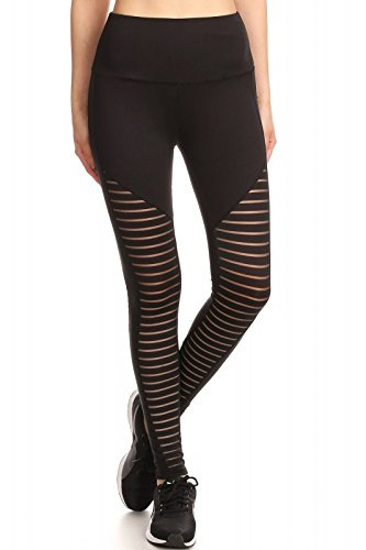 Womens Faux Leather Leggings PU Trendy Mesh Sports Pants Yoga PU with Front Mesh Panels Black ()