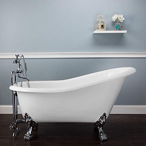 Randolph Morris 57 Inch Acrylic Slipper Tub - No Faucet Drillings - Lion Paw Feet (Feet Faucet No Lion Paw)
