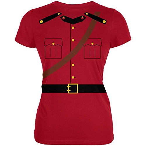 Mountie Halloween Costume (Old Glory Halloween Canadian Mountie Police Costume Juniors Soft T Shirt Red)