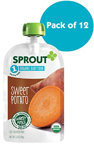 Sprout Organic Stage 1 Baby Food Pouches, Sweet Potato, 3.5 Ounce (Pack of 12)