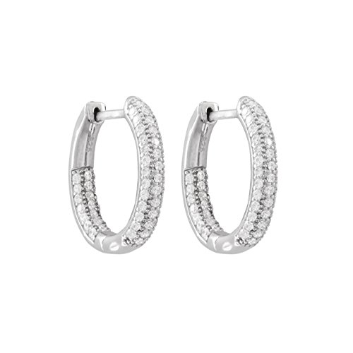 Rhodium Plated Sterling Silver Pave CZ Hoops With Hinge Lock ()