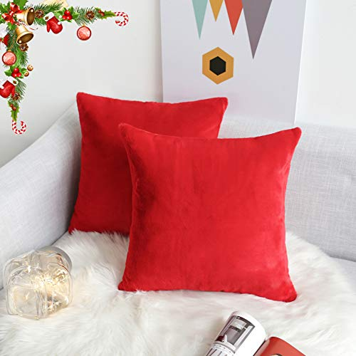 Kevin Textile Christmas Luxury Faux Crystal Mink Fur/Suede Throw Pillow Cover Decorative Square Throw Cushion Covers Pillowcase for Wedding, 2 Packs, 18 x 18 Inch (45 x 45cm),Mars Red