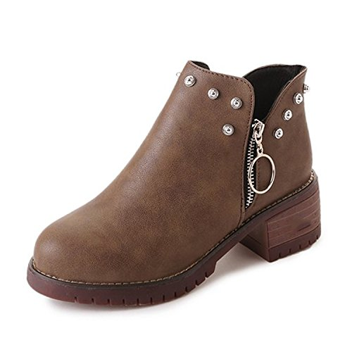 Women Boots Spring Autumn Classic Zip Rivets Ankle Boots Ladies Heeled Motorcycle Booties Footwear Brown 8.5 (Womens Boots Rei)
