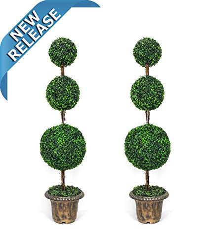 AMERIQUE Pair Gorgeous 4 Feet Dense Triple Ball-Shaped Boxwood Topiary Artificial Trees Plant with UV Protection with Decorative Pots, Feel Real Technology, Super Quality, 4' Each Green