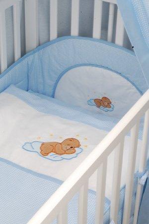 6-teiliges Bett-Set | Bettausstattung | mit Applikation | Farbe: blau KOKO-Kinderartikel