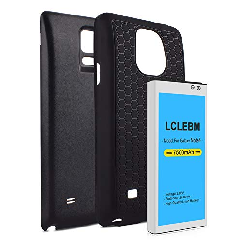 Note 4 Battery 7500mah LCLEBM Extended Battery Replacement with Black Back Cover and TPU Case (Up to 2.3X Extra Battery Power) for Galaxy Note 4 N910,N910V,N910A,N910T,N910P,N910R4,N910U 4G LTE,N910F (Battery Note 4 Extended)